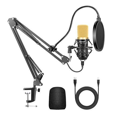 Neewer Microfono a Condensatore NW-7000 a USB da Studio & Stand Asta di Sospensione Braccio a Forbici NW-35 con Supporto Anti-vibrazione Serratura da Tavolo per Trasmissioni Registrazioni Sonore