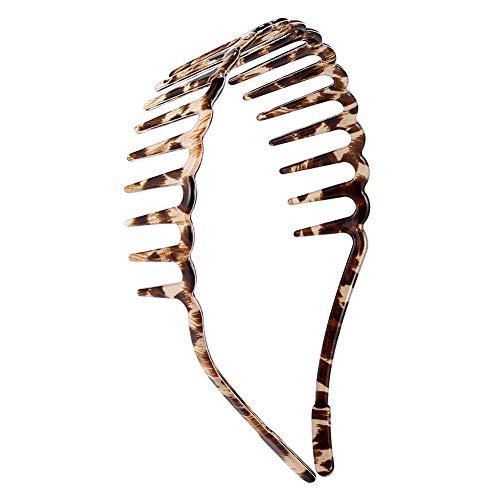 HYFEEL Teeth Comb Headbands Plastic Non-Slip Leopard Simple Fashion Vintage Hard Hair Hoop Band Accessories for Women Girls