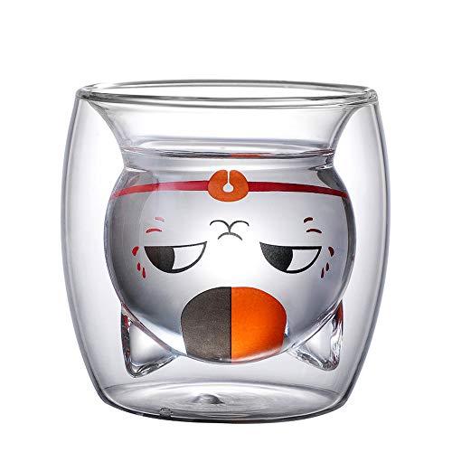 BAMINX Katzentasse, Doppelwandige Tasse, 220ml Espresso Kaffee Tee Becher Glas Katze Design Tasse 3D Kätzchen Gläser Hitzebeständig Doppelwand Kaffee Milch Saft Weihnachten Tasse