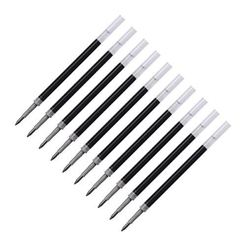 Elzo Recambio para Bolígrafos y Plumas, Punta Fina (0.5 mm), Set de 10 Unidades, Negro