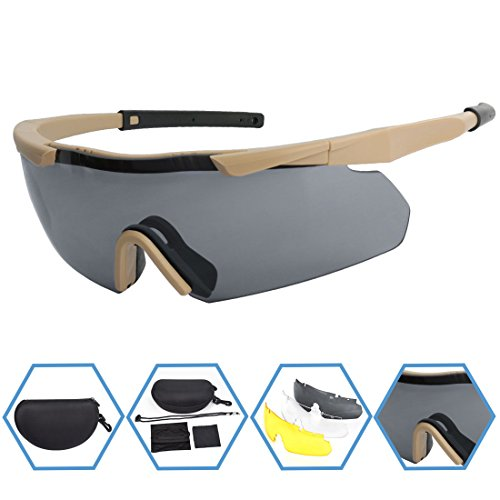 XAegis Tactical Eyewear 3 Interchangeable Lenses, Outdoor Antifog Safety Glasses & Hard Shell Case - Unisex Shooting Glasses Cycling, Driving, Hiking,Fishing, Hunting - Khaki Frame
