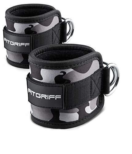 Fitgriff® Tobillera para Polea (Acolchado)- 2 Piezas Correas Tobillos Gym Cable Maquinas, Gimnasio, Fitness - Mujeres y Hombres - Camo