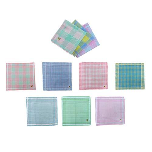chiwanji 10 Stück Damen Taschentücher Karomuster Stofftaschentücher - Größe 29 x 28 cm