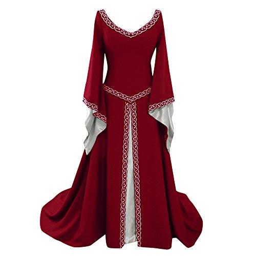 iHENGH Damen Frühling Sommer Rock Bequem Lässig Mode Kleider Frauen Röcke Langarm V-Ausschnitt Mittelalterlich Kleid Bodenlang Cosplay Kleid(Rot, 2XL)