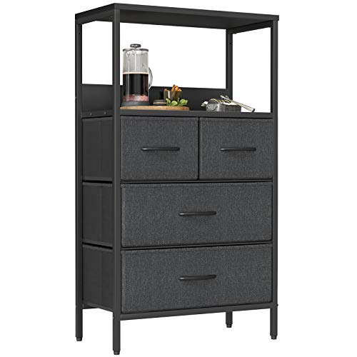 CubiCubi Dresser Storage Tower, 4 Drawers Fabric Organizer Unit with shelves for Bedroom Hallway Entryway Closets, Small Dresser Clothes Storage with Sturdy Steel Frame Wood Top, Dark Black Grey