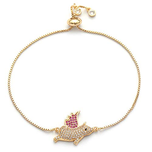 Mano Pulseras Brazalete Joyería Mujer Lucky Pink Feather Flying Pig Pulsera Animal Jewelry Cadena De Color Dorado Pulser