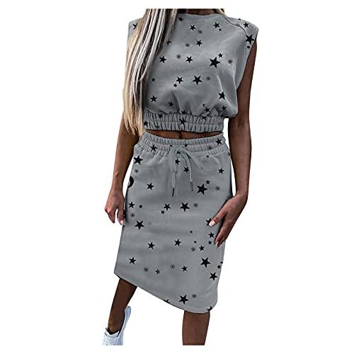 Women's Bohemian Bow Tie Tube Crop Top with High Waist Bodycon Skirt Two Piece Outfit Dress Suit Set Gray M