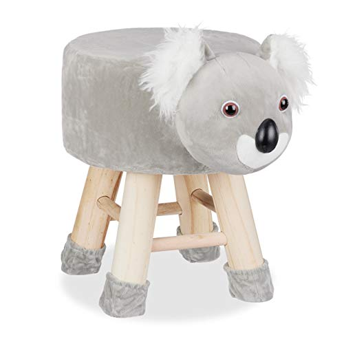 Relaxdays Tierhocker Koala, Dekohocker für Kinder, Abnehmbarer Bezug, Holzbeine, gepolstert, Kinderhocker Tiere, grau, HBT: 43 x 34,5 x 28 cm