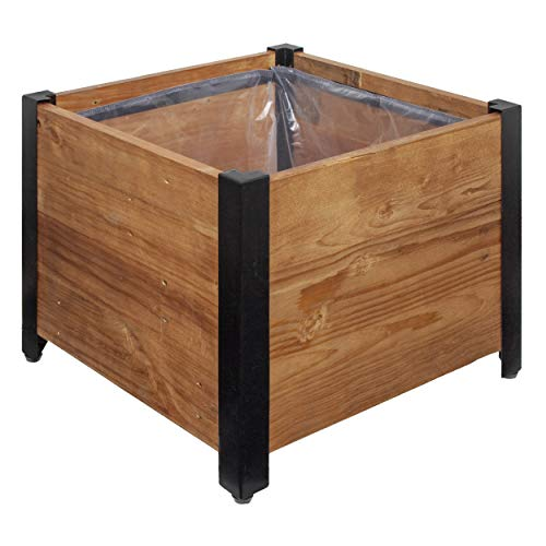 Amazon Basics Recycled Wood Square Garden Planter - 17.75' x 17.75'