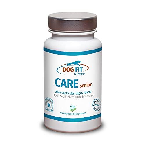 DOG FIT by PreThis® Care Senior | Aufbaupräparat für alte Hunde | 100% Natur | Unterstützt Gelenke, Augen, Fell, Haut, Zähne & Stoffwechsel | Senior Futterergänzung