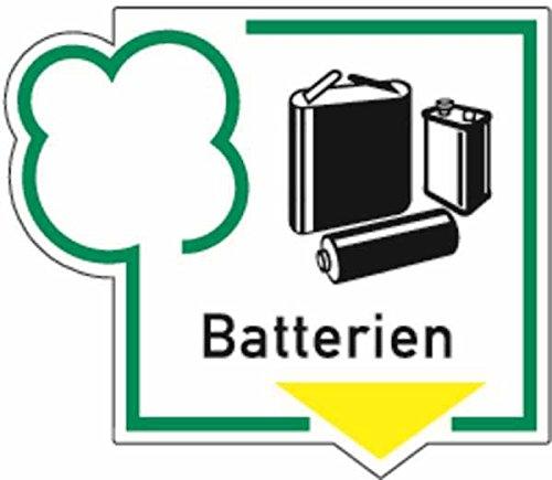 Aufkleber Recycling-Schild Symbol+Text Batterien 108x125mm