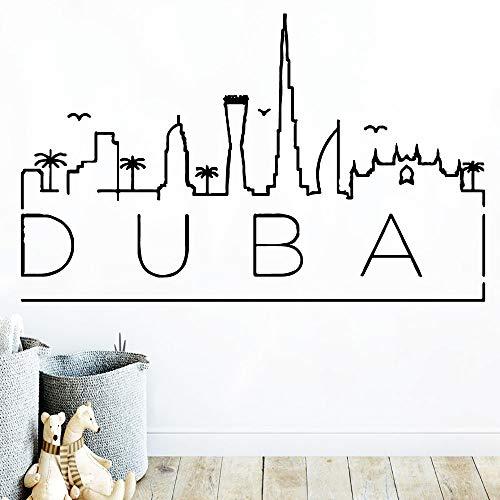 JXLLCD creatieve Dubai kaart coole muursticker PVC muurkunst DIY poster PVC muursticker voor kinderkamer huis decoratie