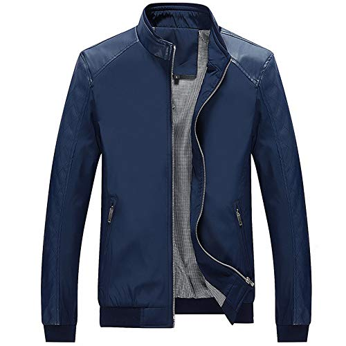 Sumen Winter Clothing Men's Casual Leather Stand Collar Zipper Pocket Jacket Coat Blue