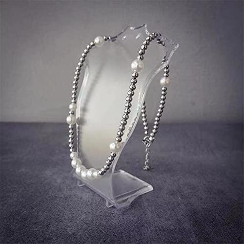 ADON Collar de cadena de perlas de imitación de Hip Hop para mujeres y hombres, punk mezcla y coincidencia de cuentas de metal de moda accesorios de joyería de regalo
