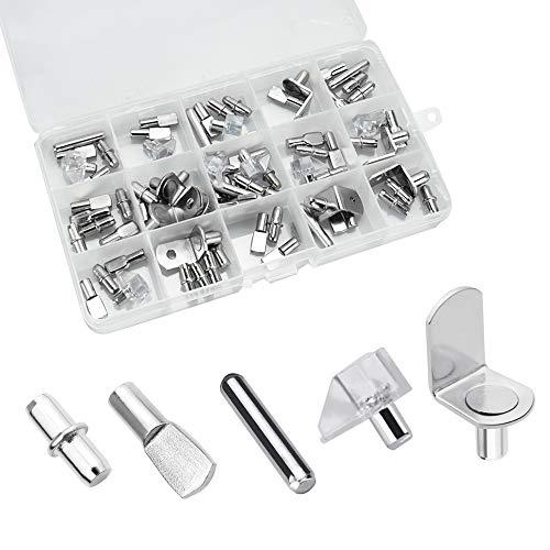 UTRUGAN Kit de Clavijas de Soporte de Estante Niquelado Tacos de Soporte de Estanterías con Cuchara Plana Pasadores de Estante en Forma de L para Muebles Gabinete Armario (Plata, 5/6 mm)