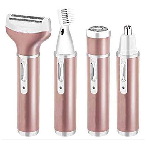 4 In 1 Electric Womens Shaver Haarentfernungsset Schmerzloser Epilierer USB Wiederaufladbar Für Bikini-Trimmer/Nasen-Haarschneider/Augenbrauenformer,Orange
