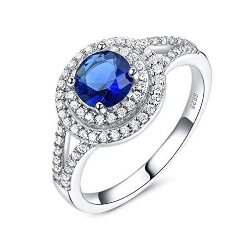 KnBoB Anillo Plata Esterlina Mujer Circón Azul Anillo Mujer Plata Esterlina 9.5
