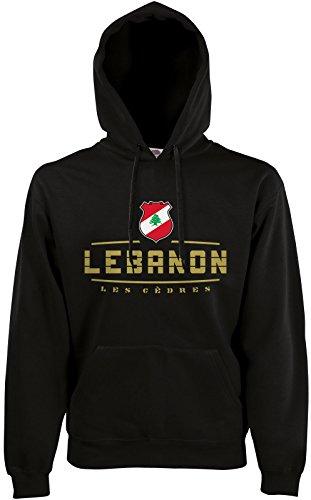 AkyTEX Libanon Lebanon Fan Hoodie Kapuzenpullover WM2018 Schwarz M