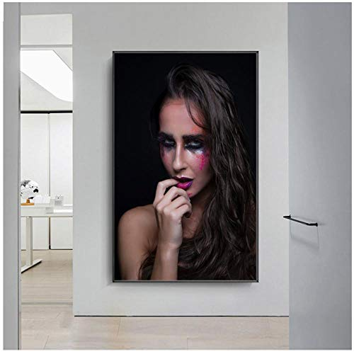 Moderne kunst schilderij vrouw gezicht posters en prints muurschildering muur kunst canvas muur foto's voor de woonkamer / 60x80cm geen frame