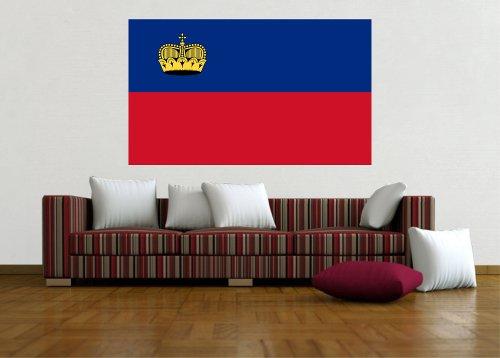 Kiwistar Wandtattoo Sticker Fahne Flagge Aufkleber Liechtenstein 120 x 72cm