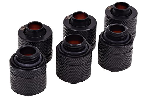 Alphacool 17387 HF 13/10 Compression Fitting G1/4 - Deep Black Sixpack WaterCooling Raccoring