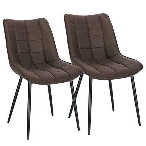 WOLTU Pack de 2 Sillas de Comedor Asiento de Tela Dining Chairs Silla Diseño Silla Tapizada Estructura Metálica Sillón con Respaldo Sillas de Cocina Marrón Oscuro BH247dbr-2