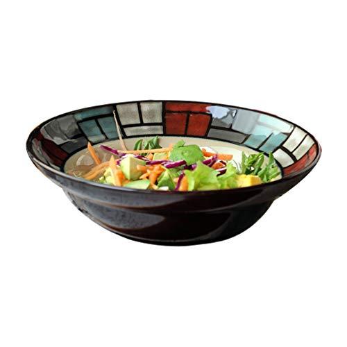 ZLININ Y-Longhair Retro Cuenco de cerámica, Sombrero de Paja Forma de tazón Tazón Vajilla Plato de Sopa de Verduras de Ensalada de Fruta Cuenco Cuenco Creativo Postre Tazón 21.3 * 6.5cm