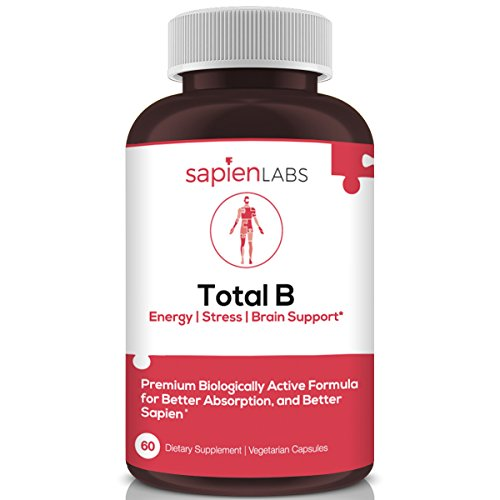 Sapien Labs Vitamin B Complex Including All 8 Essential B Vitamins, B12, B1, B2, Niacin, B5, B6, Biotin, 5-MTHF for Stress, Energy and Healthy Immune System – 60 Vegan Capsules