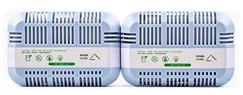 Ryher Natürliches aktivierendes Kühlschrank-Deodorant aus Bambus-Kohle - Lufterfrischer und Geruchs-Entferner für Kühlschränke, Schränke, Küchen – 2 Jahre nutzbar (XXL - 2 Stück, Grau)