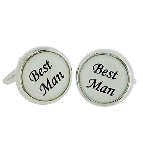 """Artamis Gents Rhodium Plated""""Best Man"""" Cufflinks In Presentation Box"""
