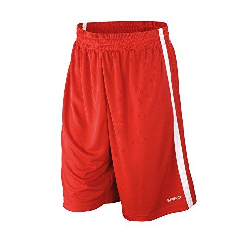 Spiro Herren Basketball-Shorts, schnelltrocknend (XL) (Rot/Weiß)