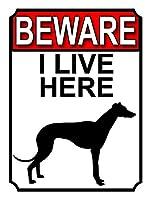 ここに住んでいることに注意してください メタルポスタレトロなポスタ安全標識壁パネル ティンサイン注意看板壁掛けプレート警告サイン絵図ショップ食料品ショッピングモールパーキングバークラブカフェレストラントイレ公共の場ギフト