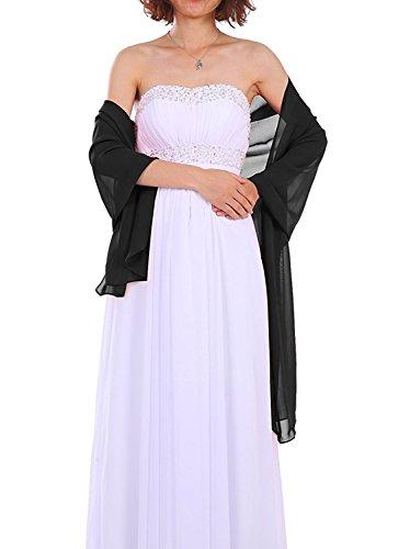 Dressystar Chiffon Stola Schal für Kleider in verschiedenen Farben Schwarz 200cm*50cm