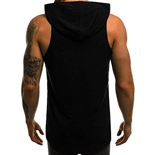 HULKY Herren Tank Top Tanktop Kapuze Tankshirt Ärmellos Bodybuilding Shirt Workout Sport Fitness Hoodie Muskelshirt für Gym, Sommer Training Haut Tops(Schwarz,M)