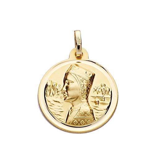 Medalla Oro 18K Virgen De Montserrat 18mm. Redonda Lisa Cerco Bisel