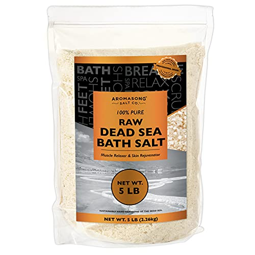 5 lbs Raw Dead SEA Salt Not Cleaned, Still Contains All Dead sea Minerals Including Dead sea Mud, Fine Medium Grain Large resealable Bulk Pack,