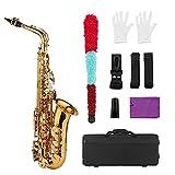 Instrumento Viento Madera Tipo Llave Golden E Flat Alto Saxofón Blanco Teclas De Cáscara De White Woodwind con Guantes...