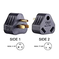 Union Electric RVA1515 15 Amp Male NEMA 5-15P to 30 Amp Female NEMA TT-30R Adapter Plug (Triangle) (15 Amp Male to 30 Amp Female)
