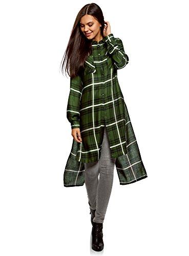 oodji Ultra Mujer Camisa Larga con Aberturas, Verde, ES 38 / S
