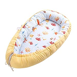 Baby Lounger, Baby Nest and Baby Bassinet, Portable Ultra Soft Breathable Newborn Lounger Crib, Perfect for Co-Sleeping and Traveling (Sea)