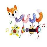 ORZIZRO Car Seat Toys, Baby Plush Spiral Hanging Toys for Stroller Crib Bar Bassinet Car Seat Mobile with Music Box BB Squeaker Rattles- Orange Fox
