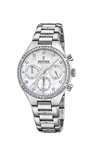 Festina Damen Chronograph Quarz Uhr mit Edelstahl Armband F20401/1