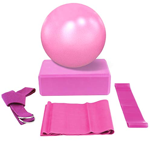 Ponacat Yoga-Set 5 Stück - Enthält 1 Yoga-Ball 1 Yoga-Block 1 Yoga-Stretching-Band 1 Widerstandsschlaufe Und 1 Gewebten Yoga-Gürtel für Yoga-Starter