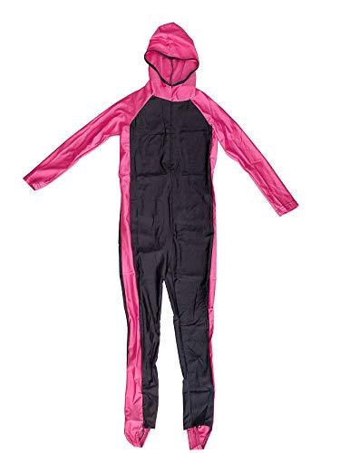 GladThink Mädchen One Piece Muslim-Badeanzug mit Kappe und Langarm Rosa XL
