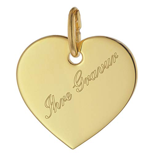 trendor Gravurplatte Herz Anhänger Gold 333 (8 Kt) inklusive Wunsch-Gravur Gravurschmuck aus Gold, Schmuckstück für Damen, Geschenkidee, Herzanhänger, 75698
