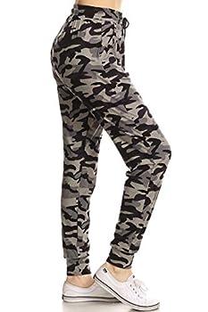 Leggings Depot JGA-S516-L Army Grey Camo Print Jogger Pants w/Pockets Large