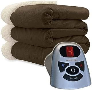 Biddeford 6000-9362160-711 Micro Mink and Sherpa Heated Blanket Twin Chocolate
