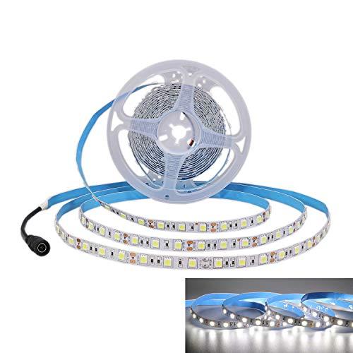 JOYLIT 5M Tiras LED Iluminación Blanco 300 LEDs SMD5050, 12V IP20 No impermeable 6000-6500K Luces LED para Armario, Dormitorio, Muebles, Cocina