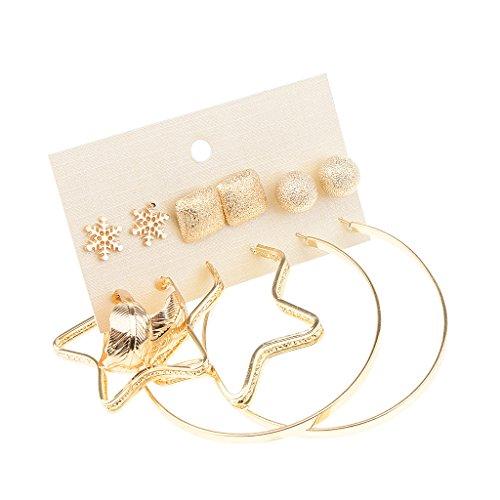 joyMerit 6 Pares de Pendientes de Aro de Mezcla de Perlas de Metal de Imitación de Perlas - # 3
