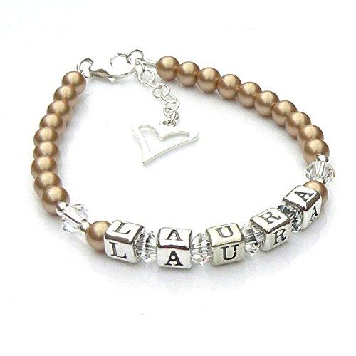 Vintage gouden parel en sterling zilver doop naam armband
